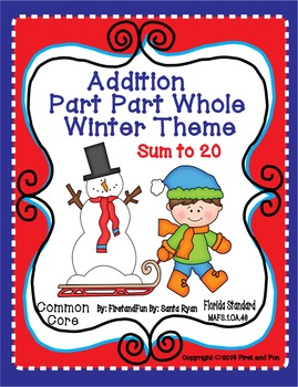 Winter Addition Part Part Whole Mat and Worksheet  Common