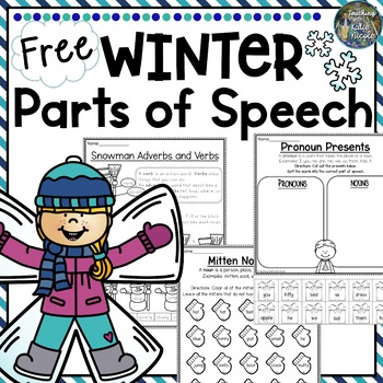 Winter Parts of Speech Freebie by Teaching Elementary with Katie Nicole