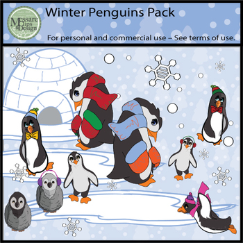 Winter Penguin Clip Art Pack {Messare Clips and Design}