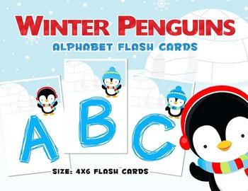 Winter Penguin - Preschool Alphabet Flash Cards