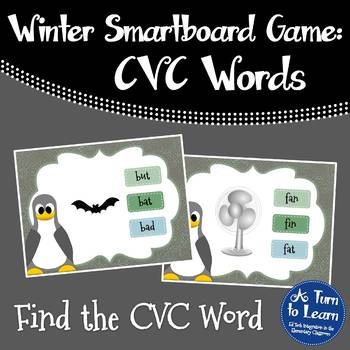 Winter/Penguin Themed Find the CVC Word Game for Smartboar