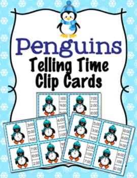 Winter Penguin Time to the Hour Clip Cards