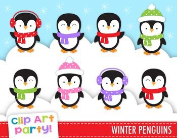 Winter Penguins Clip Art, Christmas Clip Art, Penguin Clip