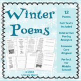 Winter Poems: Poetry Analysis (Grades 6, 7, 8)