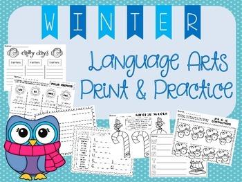 Winter Print & Practice Activities - 2nd grade Grammar & L