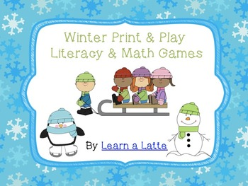 Winter Print and Play Games - Literacy and Math (No Prep)