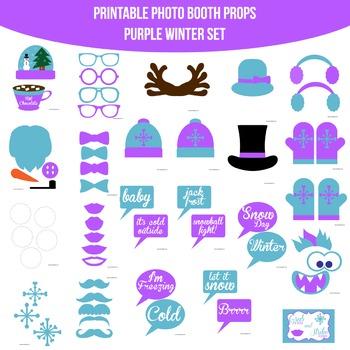 Winter Purple Printable Photo Booth Prop Set
