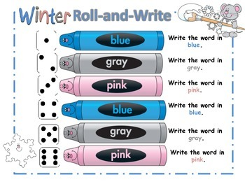 Winter Rainbow Roll-and-Write - Spelling, Word Work