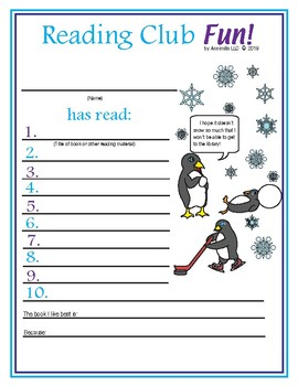 Winter Reading Log & Certificate