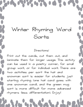Winter Rhyming Word Sort