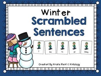 Winter Scrambled Sentences - Literacy Activity, Center, Game