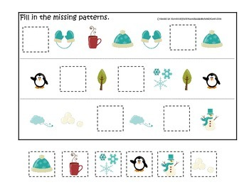 Winter Season themed Fill in the Missing Pattern preschool