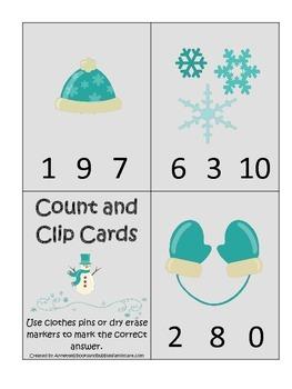 Winter Season themed Math Count and Clip preschool learnin
