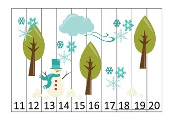 Winter Season themed Number Sequence Puzzle 11-20 early ma