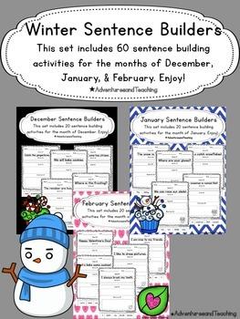 Winter Sentence Builders {morning work, word work, daily 5