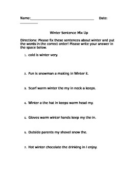 Winter Sentence Mix-up Homework