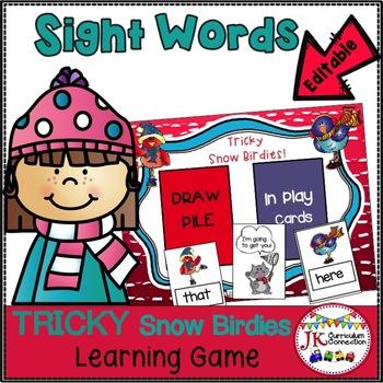 Sight Word Game - Winter Theme Tricky Snowbirdies {EDITABLE}