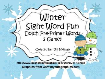 Winter Sight Word Games-Dolch PrePrimer Words