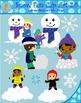 Winter Snow Fun Clipart - Button Eyes Edition (Blacklines