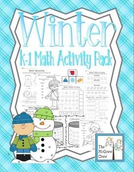 Winter Snow K-1 Math Activity Pack Set Money Measuring Est