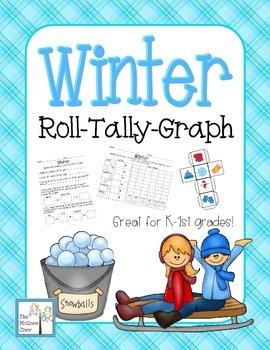 Winter Snow Roll Tally Graph Math Activity Set