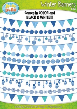 Winter Snowflake Holiday Pendant Banners Clip Art Set — In