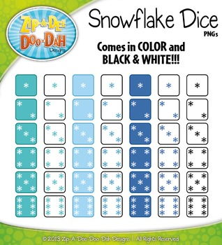 Winter Snowflake Dice Clip Art Set — Over 40 Graphics!
