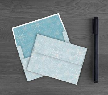 Winter Snowflakes Envelope - Printable Blue A7 Envelope -