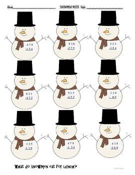 New Year  Winter Snowman  Math & More
