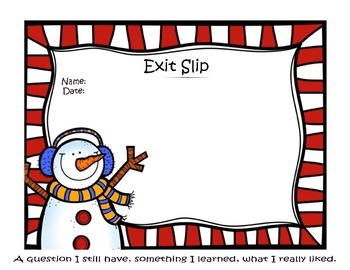 Winter Snowman Exit Slip