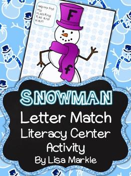 Winter Snowman Letter Match Literacy Center Activity for P