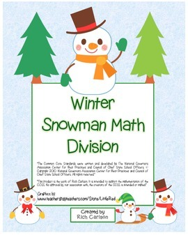 """Winter Snowman Math"" Division- Common Core -  Division Fu"