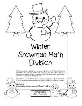 """Winter Snowman Math"" Division - Common Core - Fun! (black"