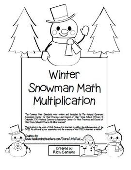 """Winter Snowman Math"" Mixed Multiplication -Common Core Fu"