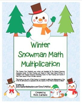 """Winter Snowman Math"" Mixed Multiplication - Common Core -"