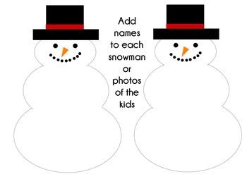 Winter Snowman Snowmen Writing Bulletin Board
