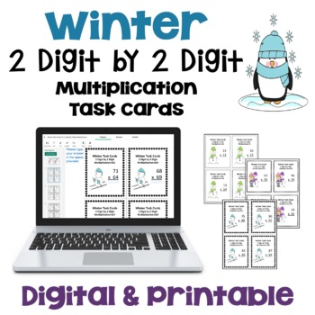 Winter & Snowman Task Cards: 2 Digit by 2 Digit Multiplica