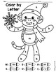 Winter Sock Monkey Color By Letter Coloring Page FREEBIE
