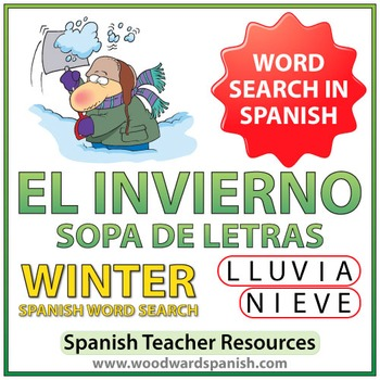 Winter Spanish Word Search - El Invierno - Sopa de Letras