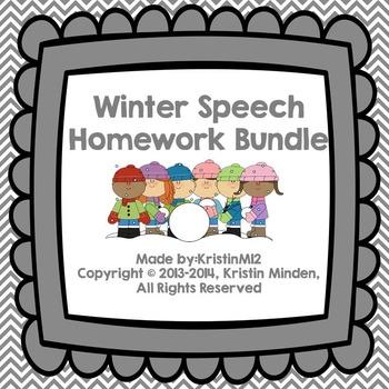 Winter Speech Homework Bundle