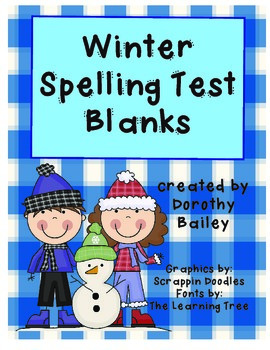 Winter Spelling Blanks