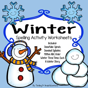 Winter Spelling Worksheets
