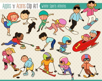 Winter Sports Athletes Clip Art - color and outlines