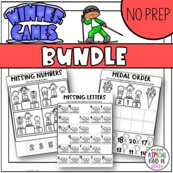 Winter Sports No Prep Alphabet and Math (BUNDLED)