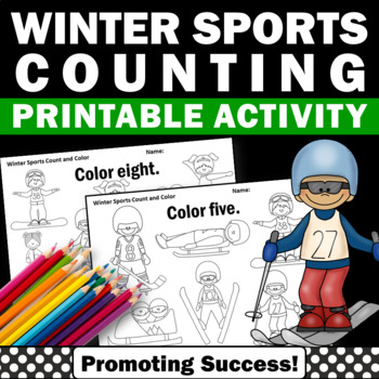 Winter Math Kindergarten Counting & Coloring Worksheets Ol