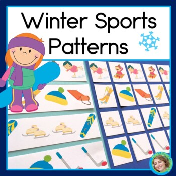 Winter Sports Patterns Math Center with AB, ABC, AAB & ABB