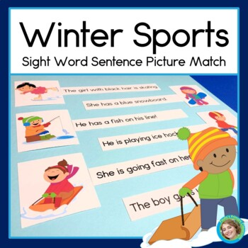 Winter Sports Sentence Picture Match Literacy Center
