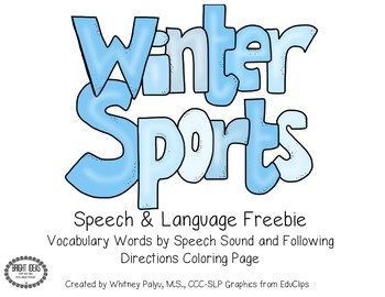 Winter Sports Speech & Language Freebie