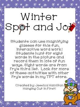 Winter Spot and Jot - Sight Word FREEBIE