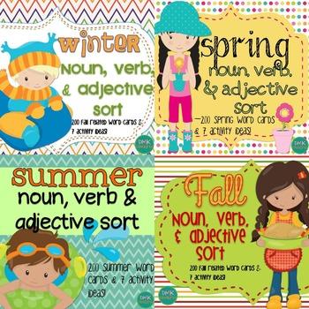 Winter, Spring, Fall, & Summer: Noun, Verb & Adjective Sort